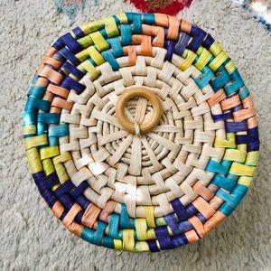 BOHO Rattan Tan & Colored Basket